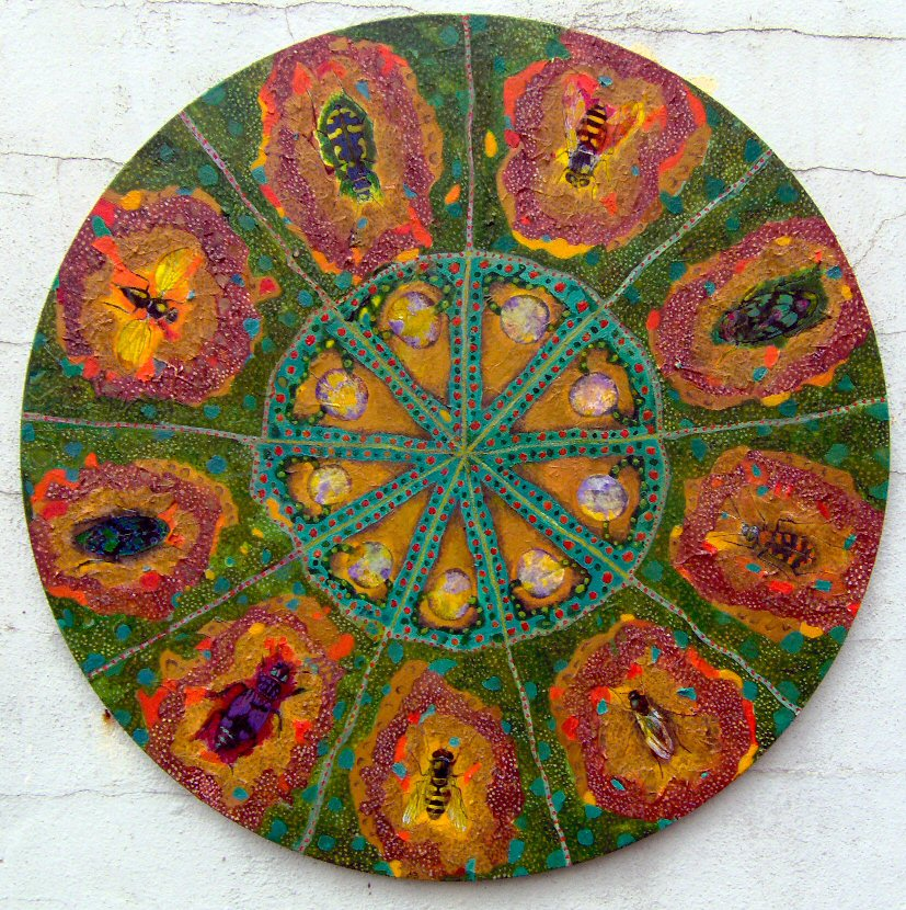 Insect Wheel. Oil and Collage on canvas. 51cms dia